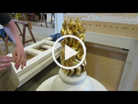 Gilding the Urns for the historic Christ Church Organ Case