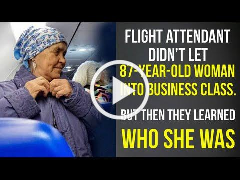 Flight attendant didn't let 87-year-old woman into business class. But then they learned who she was