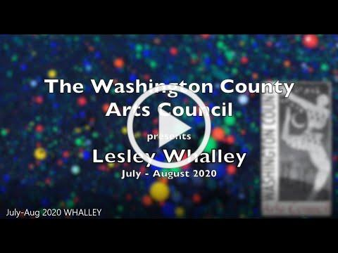 Artist Lesley Whalley in the Main Gallery of the Washington County Arts Council