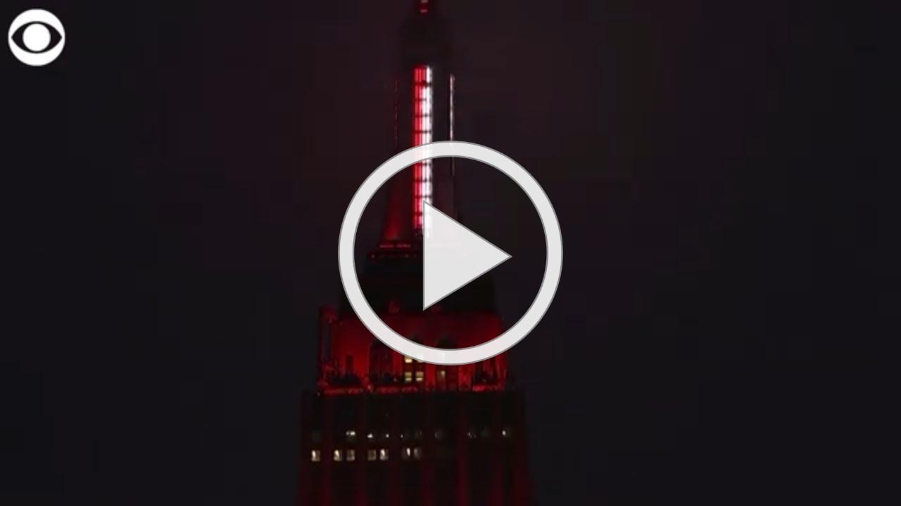 Empire State Building lights up like a siren to honor emergency workers during coronavirus pandemic