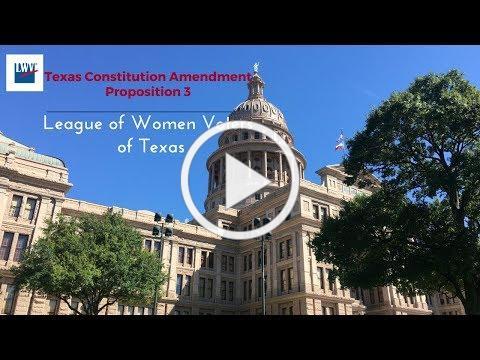 Proposition 3, Texas Constitution Amendment Nov. 7th Election