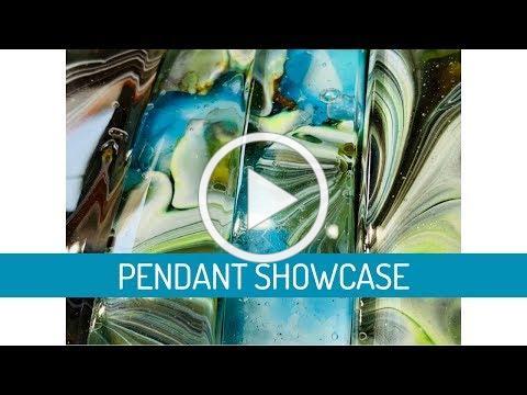 PotekGlass | Landscape art glass jewelry pendant bead necklace showcase