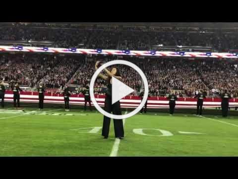 Samantha spelled Medina-Vazquez signs National Anthem with singer Andy Grammer