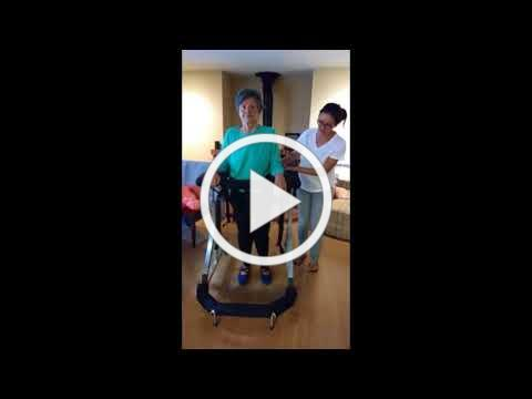 Mom Stands, Walks, and Rests using the Second Step Gait Harness System II
