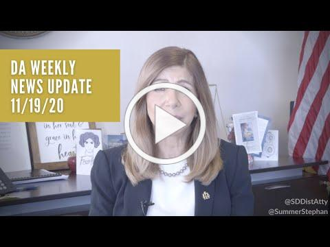 DA Weekly News Update with DA Summer Stephan 11/18/20