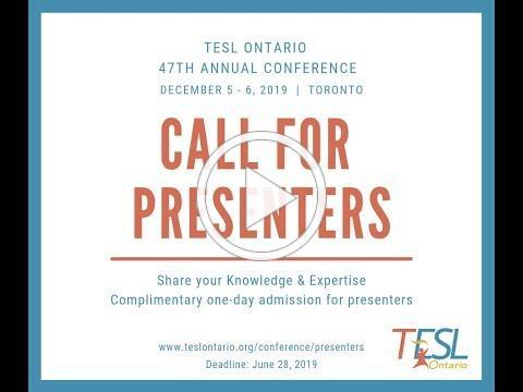 TESL Ontario Call for Presenters 2019