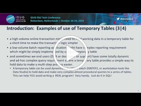 Temporary Tables in Db2 SQL. Using for Effective SQL!