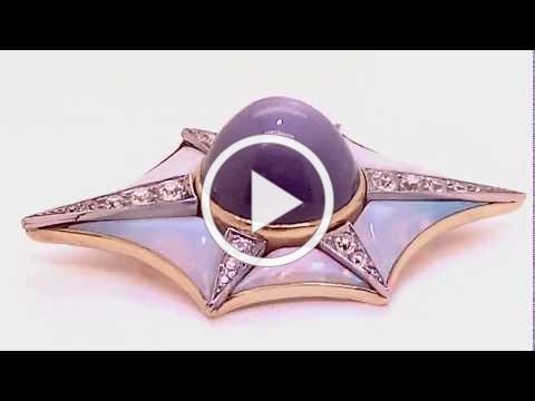 Estate Star Sapphire & Diamond Opal Brooch Pendant - Plat & 18kt - Dominic Mainella - MDJ Advantage