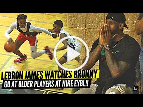 Bronny James Makes NIKE EYBL DEBUT vs. OLDER PLAYERS with LeBron Watching!!