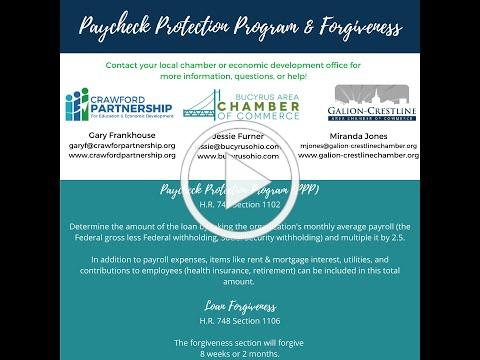 Crawford County, Ohio Help Explains 1102 Paycheck Protection Programs & 1106 Forgiveness