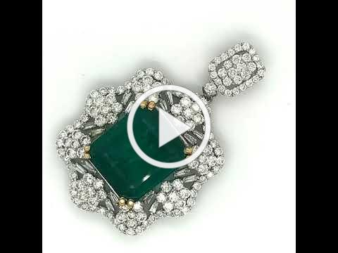MDJ Advantage - Estate Emerald Diamond Pendant - item pnd12423 - Dominic Mainella