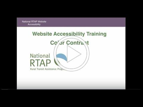 National RTAP Website Builder Accessibility Video - Color Contrast