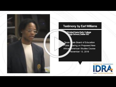 Earl Williams Testimony for African American Studies 2019