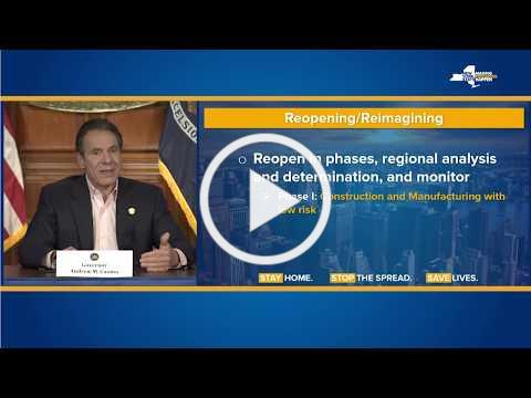 Governor Cuomo Outlines Phased Plan to Re-open New York Starting With Construction and Manufacturing
