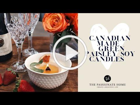 Canadian Made Soy Candles GREEN PAISLEY