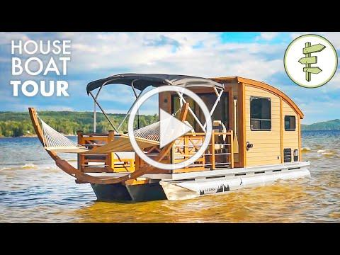 This Tiny House Boat is an INCREDIBLE Floating Off-Grid Cabin