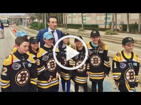 Marchand makes friends with Maine kids