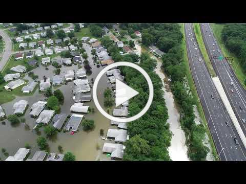 Drone video of flooding in Brick, N.J. after 8 inches of rain fell