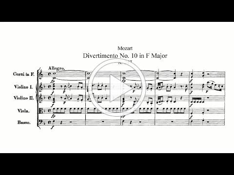 Mozart: Divertimento No. 10 in F major, K. 247 (with Score)