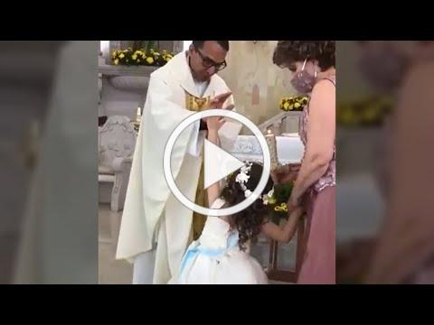 Girl HIGH FIVE'S priest (when he tries to bless her) / Top Daily Viral #shorts