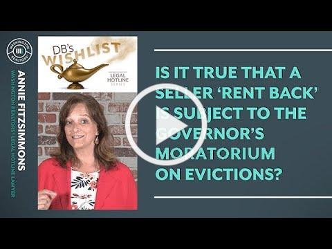 Seller Rent Back and the Governors Moratorium