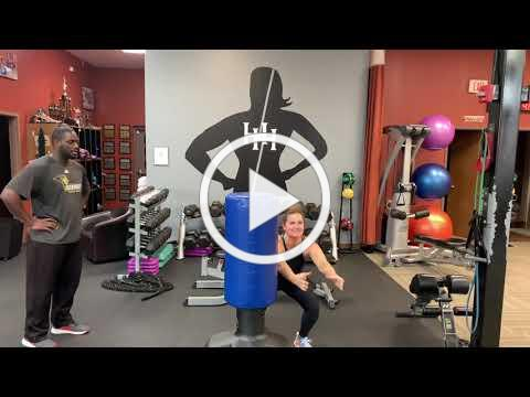 Beginner if you have tension in knees no need to squat just over with arms!