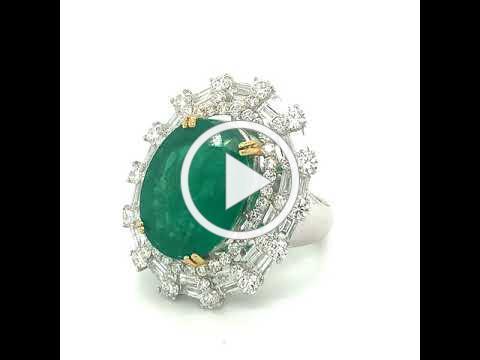 MDJ Advantage - Estate Emerald Diamond Ring - item #rn20067 - Dominic Mainella