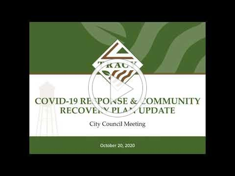 City of Tracy: October 20th Tracy City Council COVID-19 Response & Community Recovery Plan Update