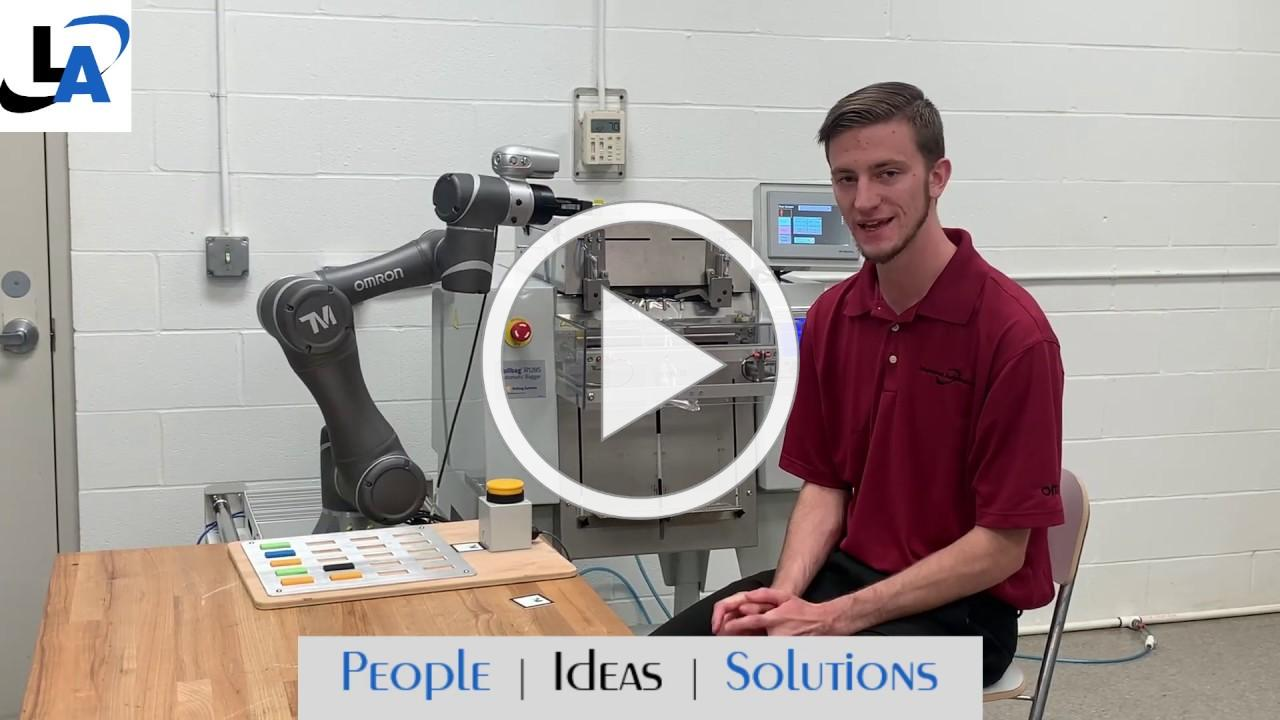 Omron Collaborative Robot Integrated with Industrial Bagging Machine