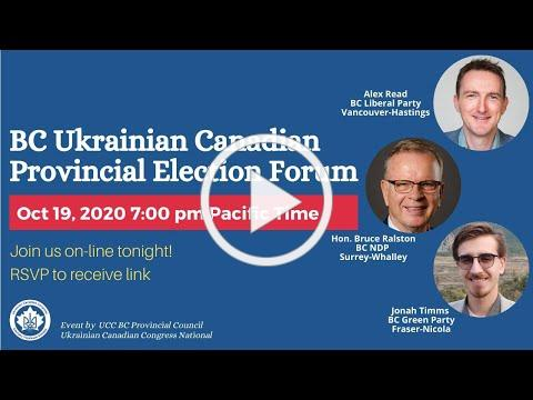 BC Ukrainian Canadian Provincial Election Forum
