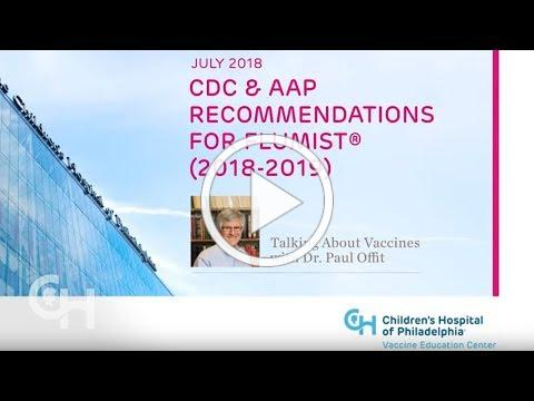 July 2018 - CDC & AAP Recommendations for FluMist® (2018-2019)