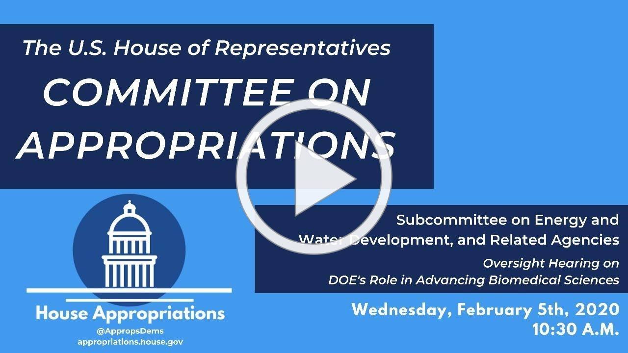 Oversight Hearing on DOE's Role in Advancing Biomedical Sciences (EventID=110447)