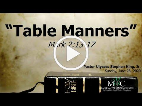 "Sermon: ""Table Manners"" (Mark 2:13-17)"