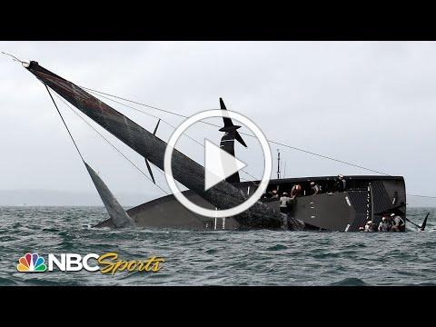 New York Yacht Club American Magic capsizes after strong wind gust at Prada Cup   Motorsports on NBC