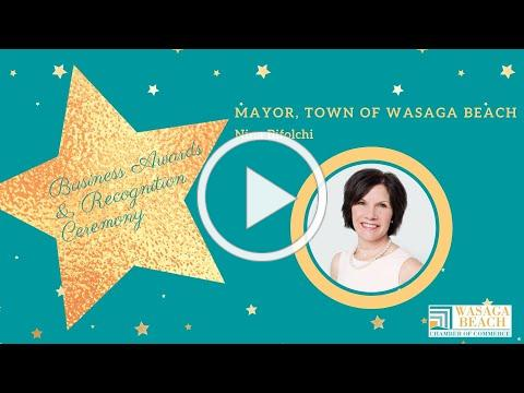 Mayor Nina Bifolchi Saying A Few Words For The Wasaga Beach Chamber Business Awards
