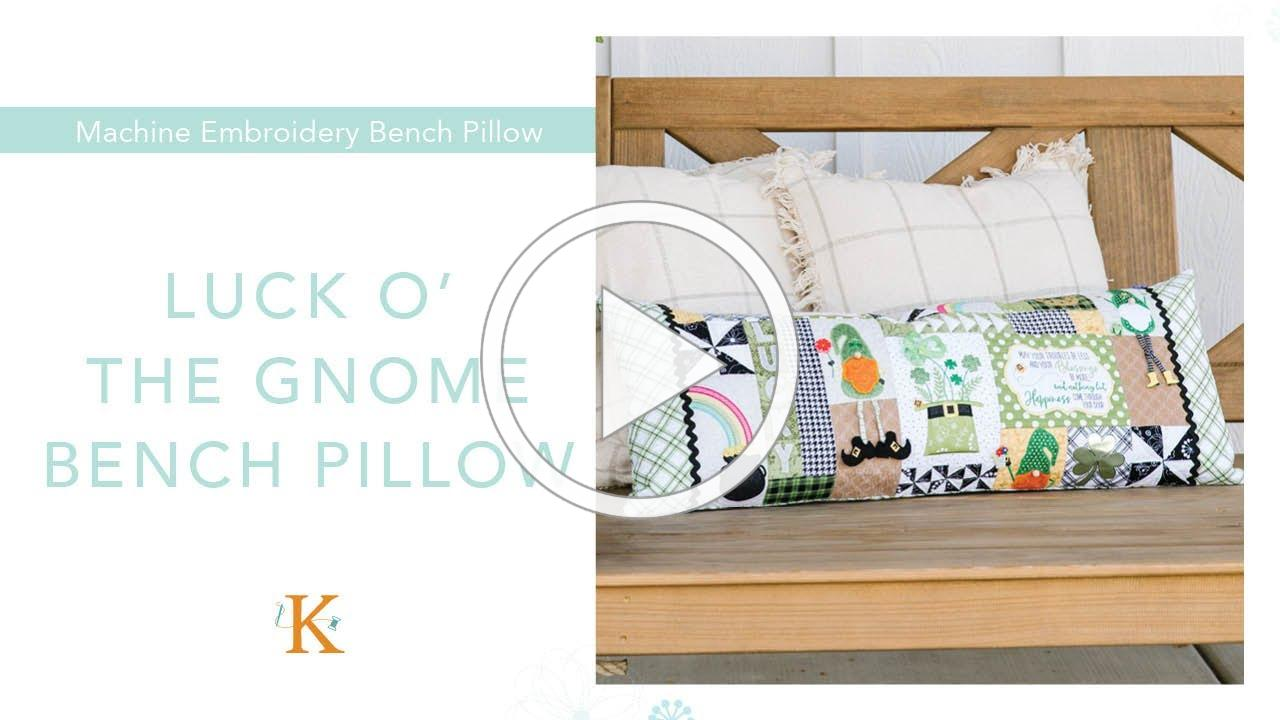 """""""Luck o' the Gnome"""": St. Patrick's Day Bench Pillow"""