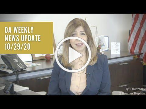 DA Weekly News Update with DA Summer Stephan 10-29-20