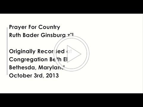 Congregation Beth El: Prayer for Country by Ruth Bader Ginsburg