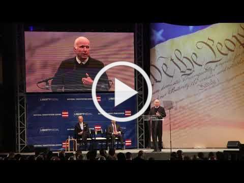 "Senator John McCain warns against ""half-baked, spurious nationalism"" in Liberty Medal speech"