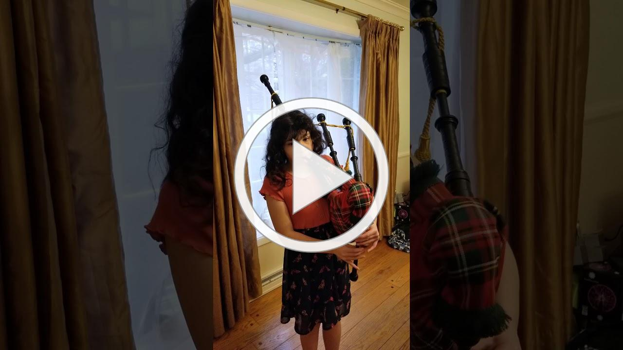 Emma on the bagpipes