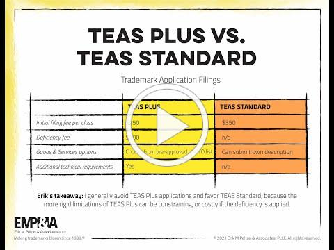 TEAS PLUS Trademark Application vs TEAS STANDARD