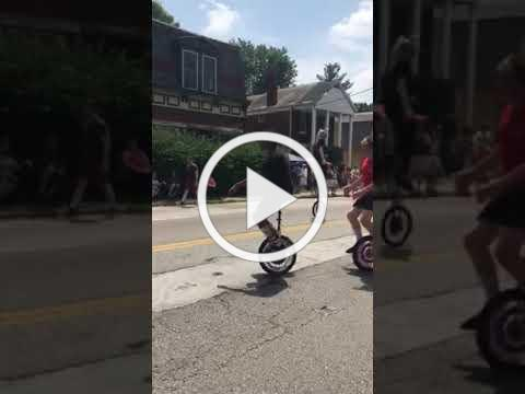 Unicyclists at the Northside 4th of July Parade