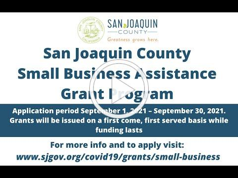 Webinar 8/31 - San Joaquin County Small Business Grant Round 4: What you need to know to apply