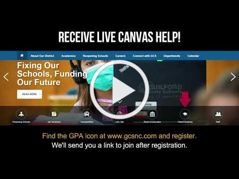 GPA Tech Tuesdays for Parents and Caregivers - Live Canvas Help