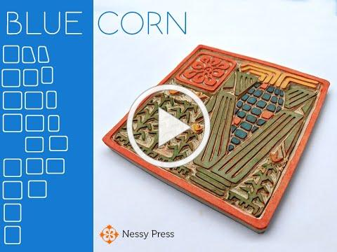 """Blue Corn"" Linocut"