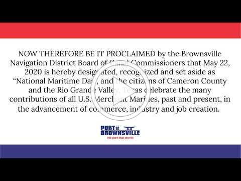 Brownsville Navigation District National Maritime Day Proclamation 05/22/20