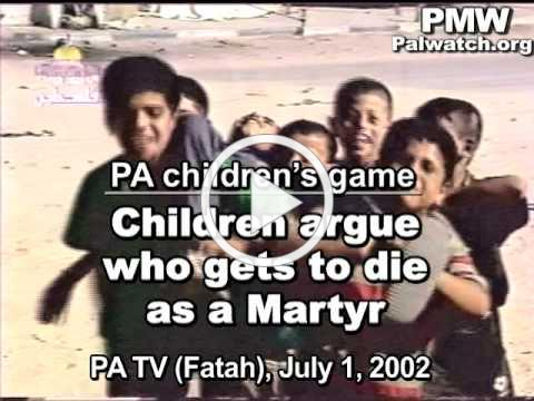 Palestinian children play the Shahid (Martyr) game and argue who gets to die as Martyr
