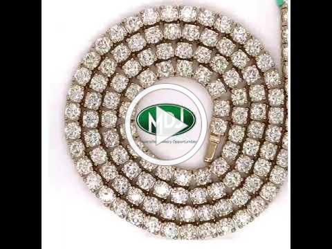 36.75 Cttw Diamond Necklace - 22 inches - Yellow Gold - MDJ Advantage
