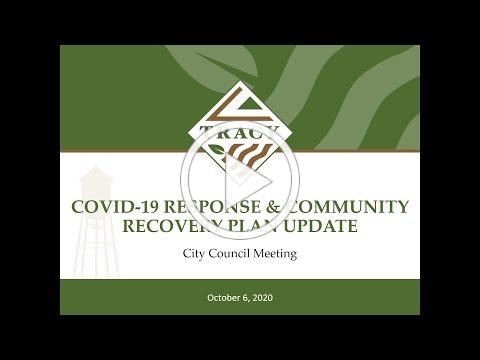 City of Tracy: October 6th Tracy City Council COVID-19 Response & Community Recovery Plan Update