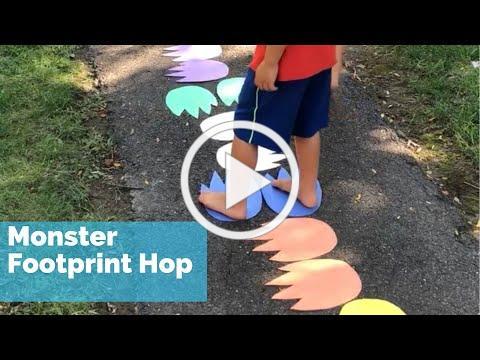 Monster Footprint Hop Kids Gross Motor Activity - Gross Motor Activities for Preschoolers Halloween